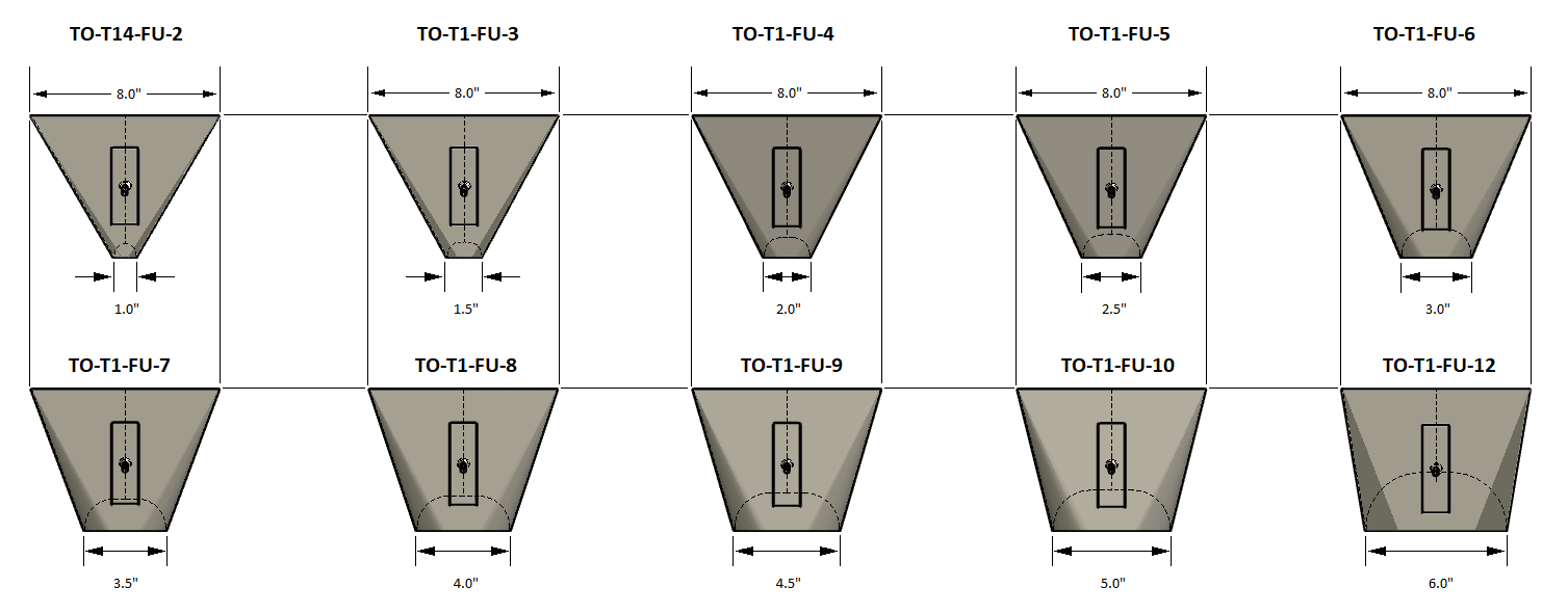 Tabletop Funnel Sizes
